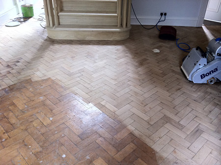 Oak Parquet Floor Before Pic