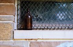 A window, a grate, a bottle and a bullet hole (Nesster) Tags: county new mountain newjersey bottle kodak d south nj 400 miranda portra essex reservation soligor f19 millburn 5cm 5019