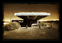 Out of Gas (CameraOne) Tags: texture abandoned sepia closed desert nevada ghost ruin gas gasstation remote canon5d roadside servicestation highway95 nogas cameraone canonef1740
