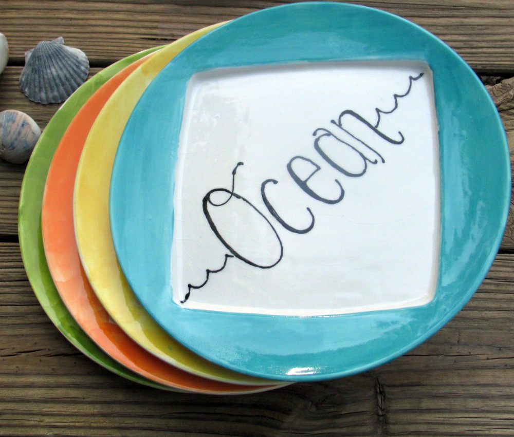 Hand painted ocean dinnerware