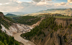 Yellowstone National Park, Bleached Cliffs ((Ashley)) Tags: park travel trees sunset cliff usa mountains nature clouds river landscape nikon national wyoming 18mm yellowstonepark d300s beachedcliffs kitlensbitches