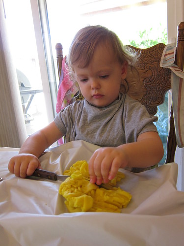 Lily playing with homemade playdough