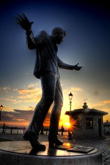 Rock and Roll Sunset (Shertila Tony) Tags: sunset england sky sculpture reflection water liverpool europe britain hdr albertdock goldenhour merseyside billyfury salthousedock colorphotoaward platinumheartaward mygearandme mygearandmepremium