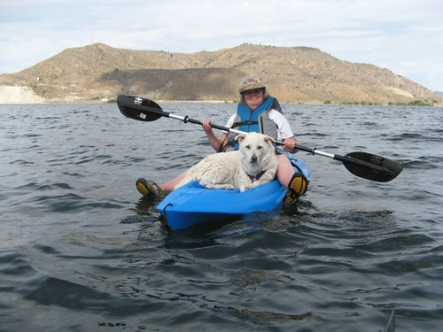 Sheri and Pooka on Kayak by teach.eagle