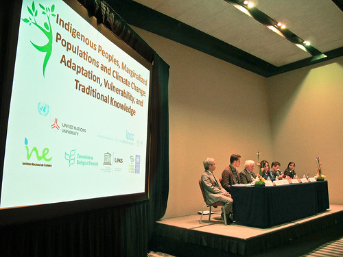 IPMPCC Opening address by Francisco Barnes-Regueiro from (Mexico's National Institute of Ecology), together on panel (Left to Right) Doug Nakashima (UNESCO), Sam Johnston (UNU) , Vincente Barros (IPCC), Terence Hay-Edie (UNDP), and Jaime Webbe (CBD)