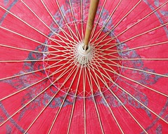 Day 24: Something red (~*~ MagpiesNest) Tags: red butterfly circle paper photography bamboo parasol july2011inphotos