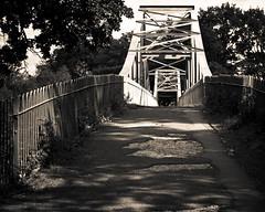 Suspension (subterraneancarsickblues) Tags: bridge blackandwhite bw canon suspension cumbria carlisle rivereden rickerbypark ef50mm18ii eos550d rebelt2i kissx4digital