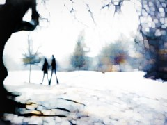 Walking in Union (*Debi) Tags: winter snow texture couple southpark explore digitalpainting darlington holdinghands picnik handinhand winterinthepark pe7 skeletalmess walkinginunion