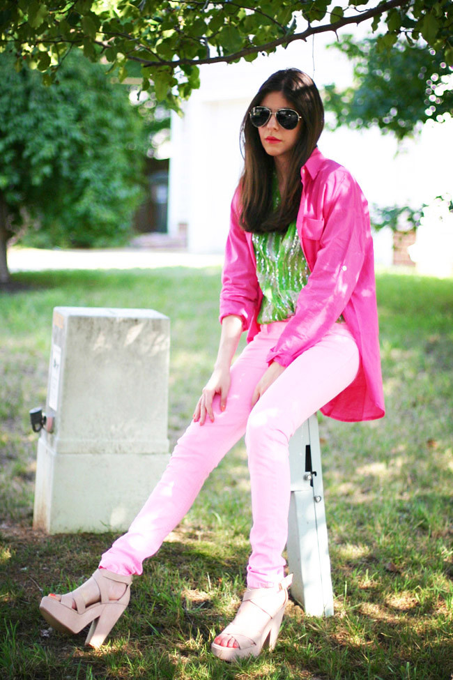Neon Pink Skinny Jeans, Sequin vintage blouse, Fashion outfit, Ray ban aviators