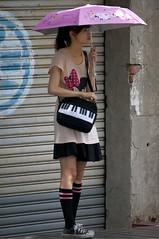 Girl with Umbrella (Joseph A Ferris III) Tags: pink black cute girl socks umbrella skinny taiwan kaohsiung