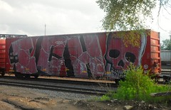 ICH full car (Reckless Artist) Tags: santa car minnesota burlington yard train photography graffiti town photo flickr artist box north minneapolis full whole photograph graff fe northern ich mn freight bnsf reckless ichabod fridley benching wholetraincar