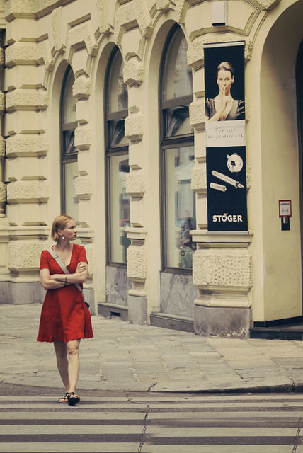 lady in red, walk, walking, vintage