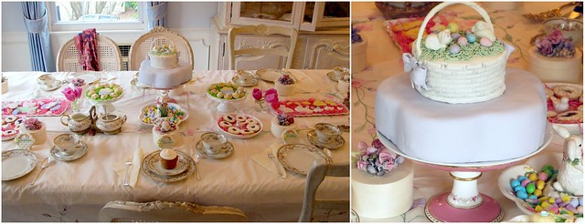 easter dessert table and cake