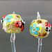 Earring : Green Ladybug Flower Blossom Pair