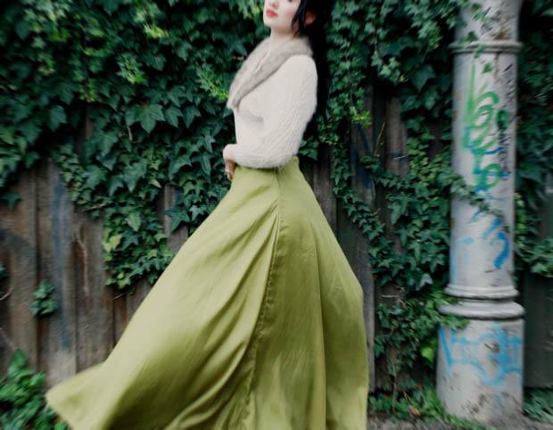 green maxi skirt j