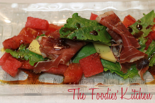Watermelon, Manchego and Serrano Ham Salad with Pedro Ximénez Wine Reduction