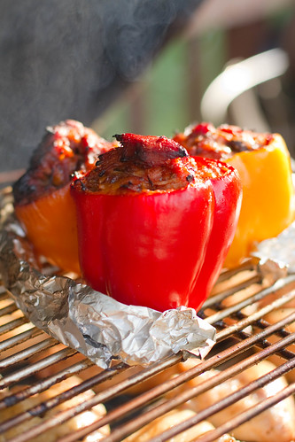 Pulled Pork Stuffed BBQ Grilled Peppers