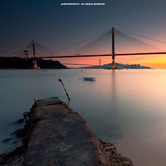 This is Hong Kong, Ding Kau Bridge (kmdd) Tags: bridge sunset sea water night canon landscape hongkong magic 5d2