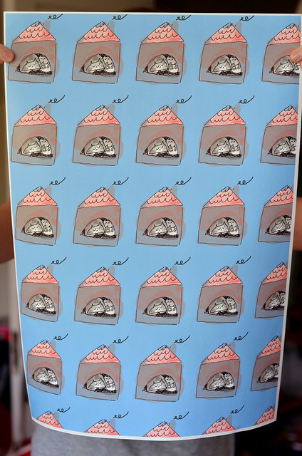 cat house in blue gift wrap