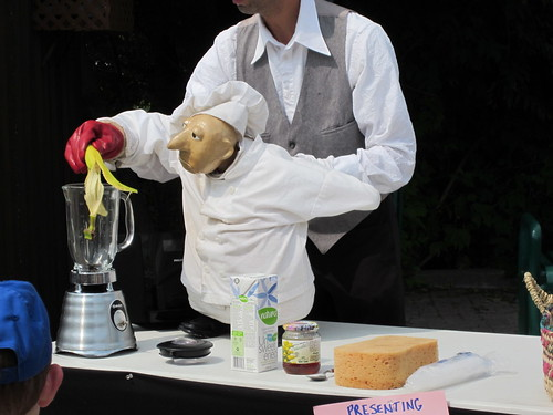 Puppet making a banana milkshake
