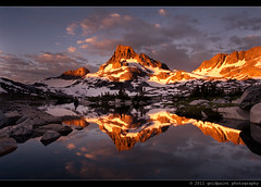 Daybreak's Vision (Goldpaint Photography) Tags: light lake snow reflection tree rock clouds sunrise glow granite pacificcresttrail sierranevada anseladamswilderness firstlight inyonationalforest johnmuirtrail bannerpeak goldpaintphotography