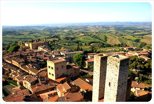 view over san gimignano & towers from torre grossa