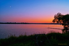 Sunset Moon (Doug Wallick) Tags: sunset moon lake tree water minnesota silhouette dock colorful shot plymouth swing medicine fade picnik lightroom a230 wilight sevening mygearandme mygearandmepremium