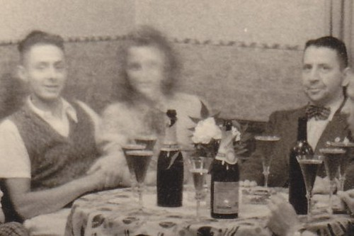 France, June 1942. Drinking champagne. (enlarged detail)