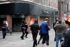 Miss Selfrigde Fire (RECord!) Tags: broken glass youth canon manchester fire riot gang 9 august gathering blaze marketstreet looting 2011 selfridge ef1740mmf4lusm 550d missselfirdge manchesterriot