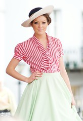 Vintage Fashion Show (VintageChild) Tags: vintage circle candy stripe skirt blouse 1950s 1960s pussybow
