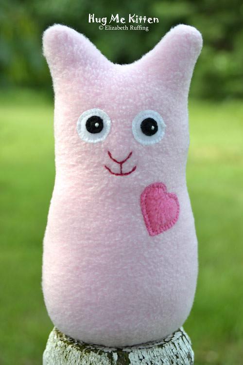 Pink fleece Hug Me Kitten by Elizabeth Ruffing