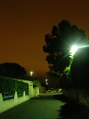 Night Time In The Burbs (Annie in Beziers) Tags: france night streetlight flare suburbs redsky streetscenes afterdark lightpollution béziers annieinbéziers lespeintres
