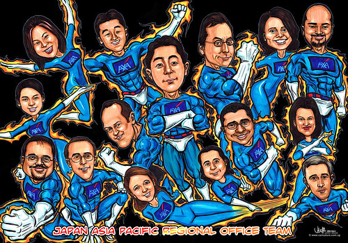Superheroes group caricatures for AXA