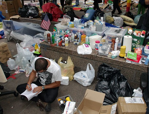 One of the early donation sites at Zucotti (Photo: shankbone, flickr)
