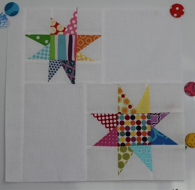 Scrappy star block for August Sew & Bee Happy