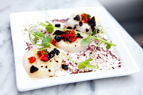 Sea Scallop Crudo black olives, preserved lemon