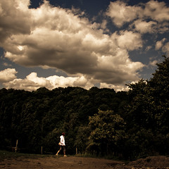 Into the Wild (and the Clouds) (Gilderic Photography) Tags: wood wild summer sky people woman cloud white nature forest canon square eos raw belgium belgique belgie path dot ciel nuage