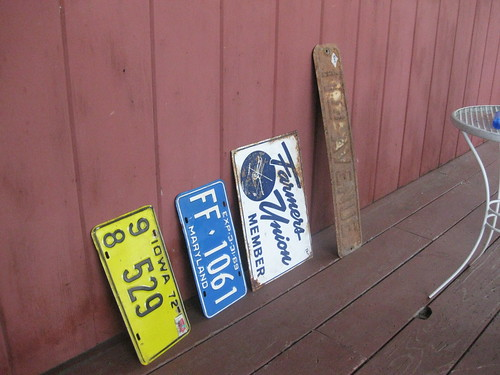 old plates and signs