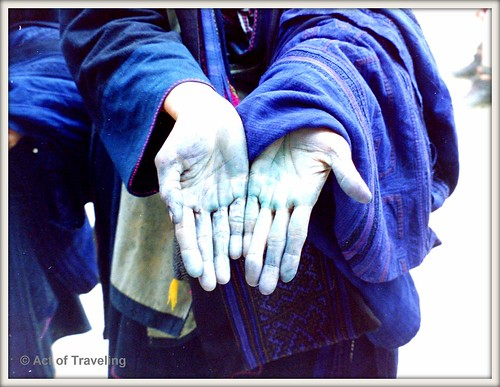 Indigo colored hands