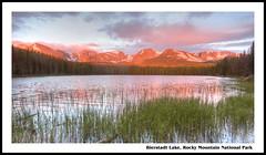 Bierstadt Alpenglow (Rich'sPics) Tags: sunrise colorado hiking rockymountains hdr rockymountainnationalpark alpenglow bierstadtlake photomatix
