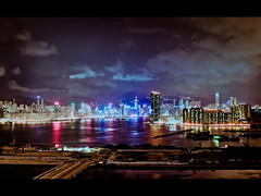 (timmytsang) Tags: city light skyline night canon buildings hongkong cityscape sony 28mm f28 hdr victoriahabour fd nex kowloonbay megabox nex3