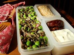 Lentils & Peas Bento (ComeUndone) Tags: lunch salad lemon sesame mint mustard bento oliveoil pea lentil shallot salish greekyogurt lavash redwinevinegar flaxseed medjooldate