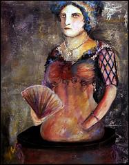 Madamoiselle Gabrielle (emeraldsrain) Tags: old woman art beautiful lady female dark painting circus freak half amputee handless legless madamoisellegabrielle