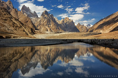 Great Trango (6286m) Cathedral Tower (5866m) Lobsang Spire (5707m) (Mountain Photographer) Tags: pakistan mountain mountains reflection tower altitude peak glacier concordia peaks himalaya baltoro 8000m himalays muztagh 7000m sakardu mountainphotography highaltitudes concordians shigar piayo k2trek alttitude beautyofpakistan northranarea rizwansaddique gettyimagespakistanq2 colourofpakistan greattrango6286m cathedraltower5866m lobsangspire5707m highalttitude
