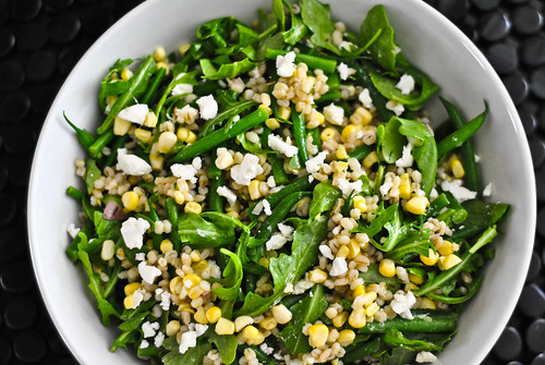 barley and corn salad with hericot verts and goat cheese