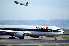 Boeing 767-3Q8ER, (SFO), Alitalia Airlines, EI-CRO, 767-300 series, CF6-80C2B6F, CF6, Francesco De Pinedo (Wernher Krutein) Tags: california travel usa plane airplane commerce technology publictransportation sfo aircraft transport jet transportation airline infrastructure boeing airlines airliner 767 aerospace alitalia twinengine widebody jetliner sanfranciscointernationalairport aza b767 longrange passengerplane commercialaviation civilaviation twinaisle cf6 fanjet boeing7673q8er alitaliaairlines compagniaaereaitaliana eicro cf680c2b6f sanfranciscointernationalairportsfo 767300series francescodepinedo