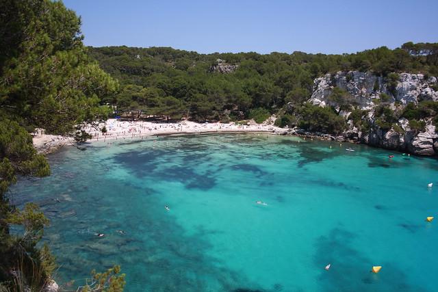 Cala Macarella, al sureste de Menorca