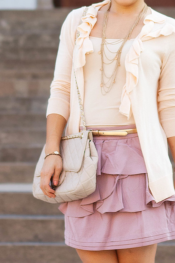 gap corsage peach cardigan banana republic beige camisole forever 21 pink tiered ruffle skirt steve madden pleasant mk5430 top knot bun petite fashion