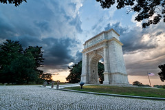 Valley Forge Memorial Arch (CrapulePHL) Tags: sunset sky monument night clouds canon exposure raw wind cloudy pennsylvania flag iso blended 100 manual usm f80 efs 1022mm hdr 10mm valleyforgepark memorialarch f3545 14s 160s
