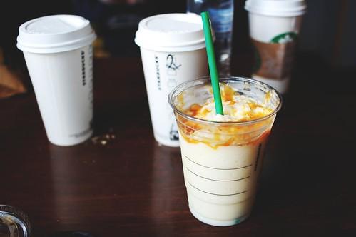 grande soy caramel creme frappuccino.